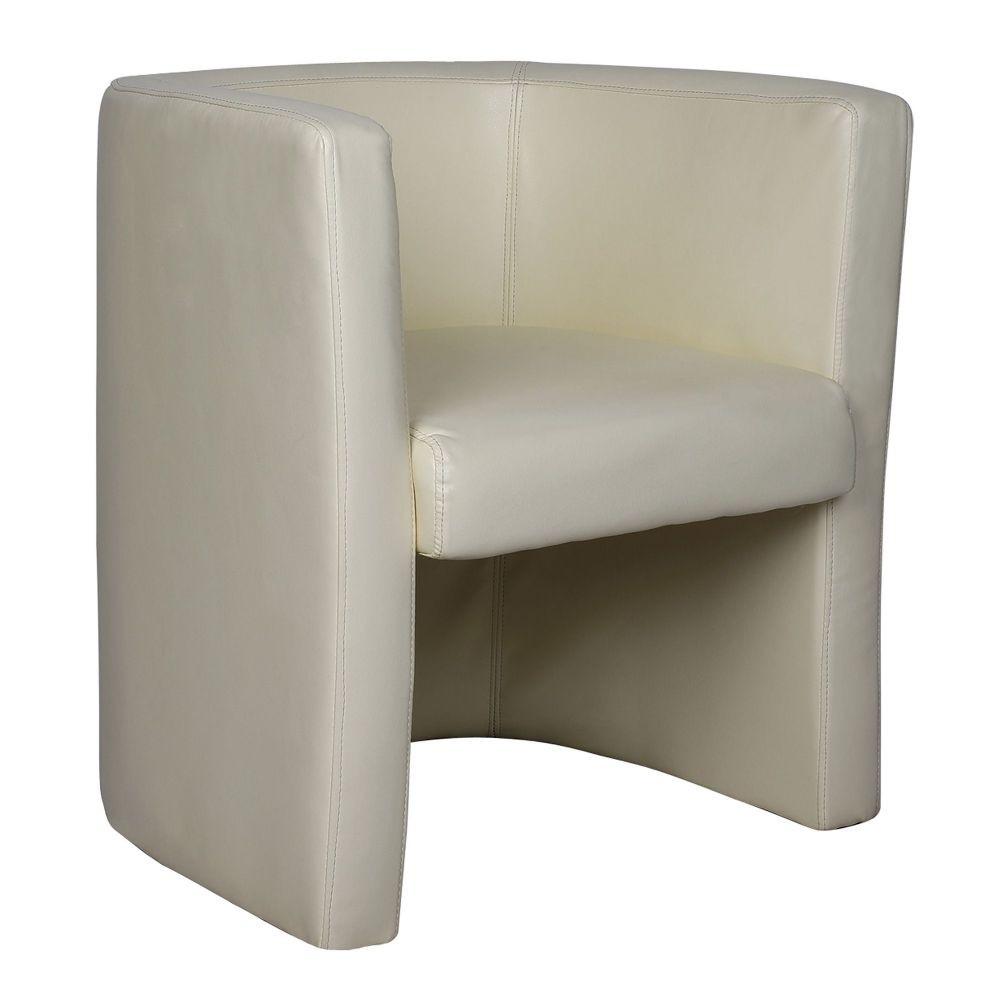 Milano Single Tub Chair Fully Upholstered in Cream Leather Effect